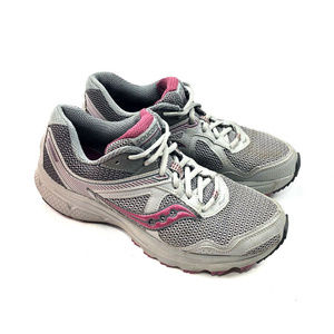 Saucony Cohesion TR10 Trail Runner Womens Gray Red